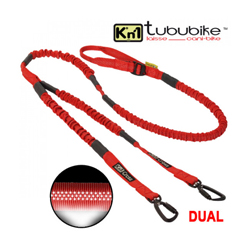 Longe Cani VTT Kn'1 Tububike ™ Dual-Hook 2 chiens + 2 colliers sport Kn'1 Cross-Hook™ Tubu Rouge