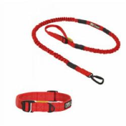 Longe Cani VTT Kn'1 Tububike ™ Hook 1 chien + 1 collier sport Kn'1 Cross-Hook™ Tubu Rouge