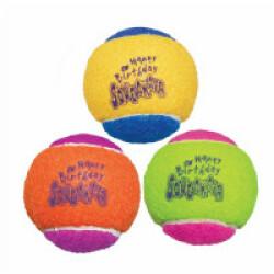 Lot de 3 balles avec squeaker KONG Air Birthday Medium diamètre 6 cm
