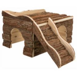 Maison avec plateforme en bois pour rongeurs Ineke Trixie - Taille M 38 × 25 × 50 cm (lapins)