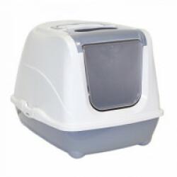 Maison de toilette grande taille grise et blanche pour chat Flip Cat Anka