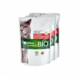 Mitonné bio pour chat adulte Equilibre et Instinct boeuf 22 sachets de 100 g