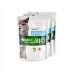 Mitonné bio pour chat adulte Equilibre et Instinct Saumon 22 sachets de 100 g