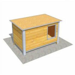 Niche isolée en bois avec toit plat pour chien Medium ouverture longueur - 120 x 75 x 75 cm
