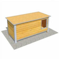Niche en bois isolée avec toit plat pour chien Maxi - 160 x 75 x 75 cm