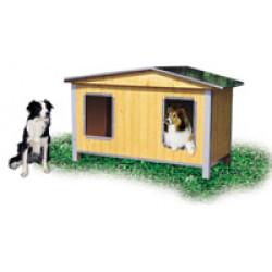 Niche en bois pour chien Duo Confort Isolée double pan pour chien