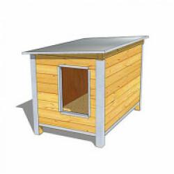 Niche isolée en bois pour chien avec toit simple pan incliné Large - Ouverture largeur