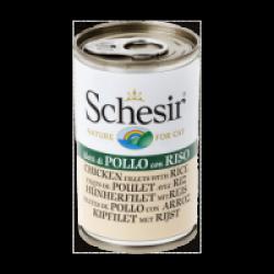 Pâtée en gelée pour chat Schesir - Boîte 140 g Filets de poulet avec riz