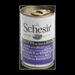 Pâtée en gelée pour chat Schesir - Boîte 140 g Thon avec filets de boeuf