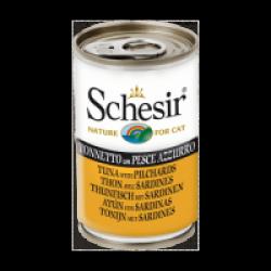 Pâtée en gelée pour chat Schesir - Boîte 140 g Thon avec sardines