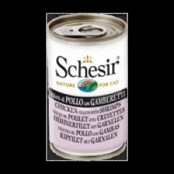 Pâtée en gelée pour chat Schesir - Boîte 140 g Poulet avec crevettes