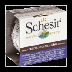 Pâtée pour chat Schesir Natural avec riz - Boîte 85 g Filets de poulet et de boeuf