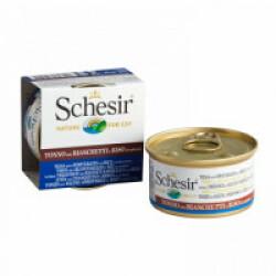 Pâtée pour chat Schesir Natural avec riz - Boîte 85 g Thon et blanchailles