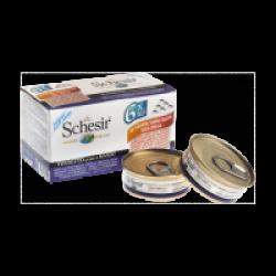 Pâtée pour chat Schesir en gelée - Lot de 6 boîtes x 50 g Thon avec filet de boeuf