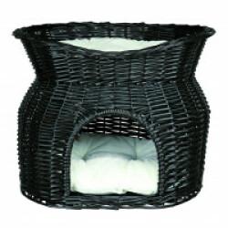 Panier en osier noir avec 2 couchettes pour chats Trixie