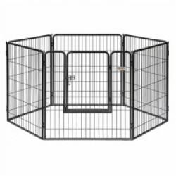 Parc à chiot intérieur/extérieur en panneaux - composé de 6 panneaux de 90 x 95 cm