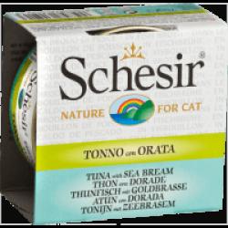 Pâtée pour chat Schesir avec bouillon - Boîte 70 g Thon avec daurade
