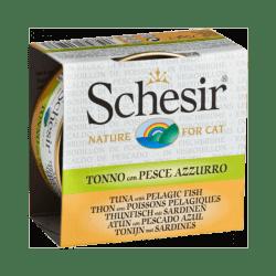 Pâtée pour chat Schesir avec bouillon - Boîte 70 g Thon avec poissons pélagiques