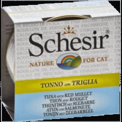 Pâtée pour chat Schesir avec bouillon - Boîte 70 g Thon avec rouget