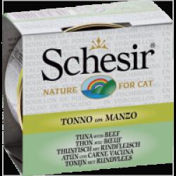 Pâtée pour chat Schesir avec bouillon - Boîte 70 g Thon avec bœuf