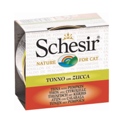 Pâtée pour chat Schesir avec bouillon - Boîte 70 g Thon avec citrouille
