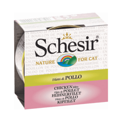 Pâtée pour chat Schesir avec bouillon - Boîte 70 g Filets de poulet