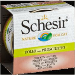 Pâtée pour chat Schesir avec bouillon - Boîte 70 g Filets de poulet avec daurade