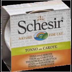 Pâtée pour chat Schesir avec bouillon - Boîte 70 g Thon avec carottes