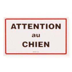 Plaque de garde Attention au Chien en plastique