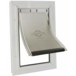 Porte Petsafe Staywell 2 positions blanc cadre aluminium pour chat 7 kg