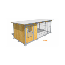 Poulailler durable en bois et métal avec 1 box et grillage Medium - 4,50 x 2 m
