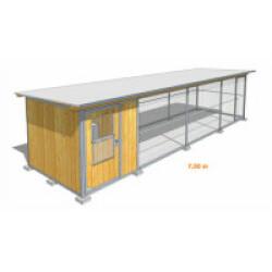 Poulailler durable en bois et métal avec 1 box et grillage XLarge - 7,5 x 2 m