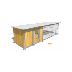 Poulailler durable en bois et métal avec 2 box et grillage Large - 6,50 x 2 m