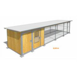 Poulailler durable en bois et métal avec 2 box et grillage XLarge - 8,50 x 2 m