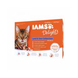 Pâtée en gelée IAMS pour chat - 12 sachets de 85 g au poisson et à la viande