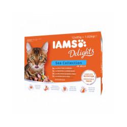 Pâtée en gelée IAMS pour chat - 12 sachets de 85 g au poisson