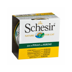 Pâtée en gelée pour chat Schesir - Boîte 85 g Thon avec crevettes
