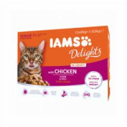 Pâtée en sauce IAMS au poulet pour chat Senior - 12 sachets de 85 g