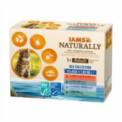 Pâtée en sauce IAMS Naturally pour chat - 12 sachets de 85 g Pack Mer (Saumon/Thon/Hareng/Cabillaud)