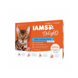 Pâtée en sauce IAMS pour chat - 12 sachets de 85 g au poisson