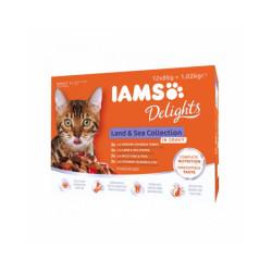 Pâtée en sauce IAMS pour chat - 12 sachets de 85 g au poisson et à la viande