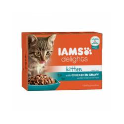 Pâtée IAMS en sauce au poulet pour chaton - 12 sachets de 85 g