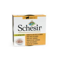 Pâtée pour chat Schesir avec bouillon - Boîte 70 g Thon avec sardine