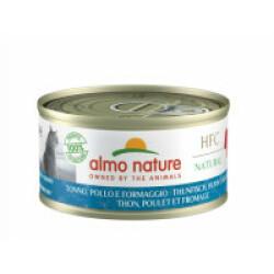 Pâtée pour chat Almo Nature HFC Natural - Lot de 6 x 70 g Thon avec poulet et fromage