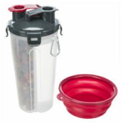 Récipient avec compartiments pour eau et nourriture - 11 x 23 cm