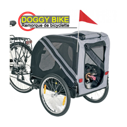 Remorque de vélo pour chien Doggy-Bike ™ Liner grise/noire