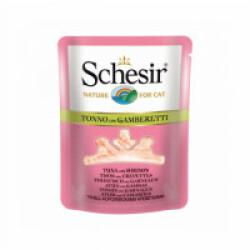 Sachet fraîcheur pour chat Schesir bouillon de cuisson - Pochon 70 g Thon avec crevettes