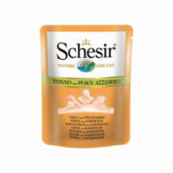 Sachet fraîcheur pour chat Schesir bouillon de cuisson - Pochon 70 g Thon avec sardines