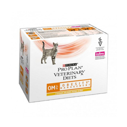 Sachets Pro Plan Veterinary Diet OM St/Ox Obesity Management pour chats Poulet 10 sachets 85 g