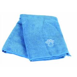 Serviette bleu en microfibre pour chiens et chats 50 x 60 cm